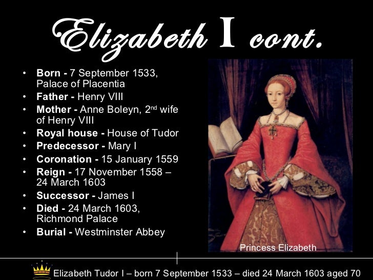 Queen Elizabeth 1 Of England Timeline The United King...