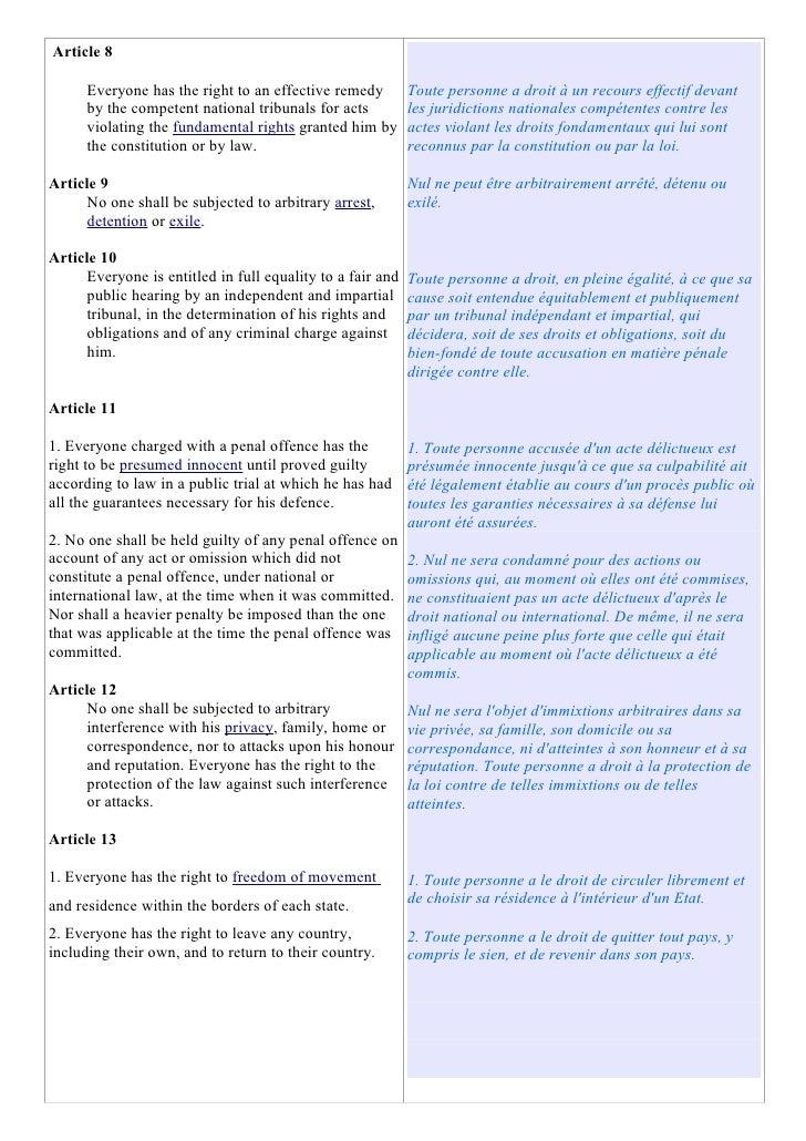 Article 8        Everyone has the right to an effective remedy         Toute personne a droit à un recours effectif devant...