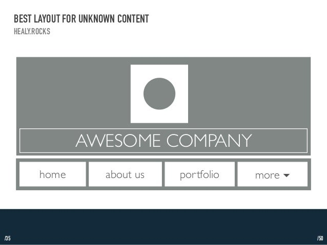 /35  BEST LAYOUT FOR UNKNOWN CONTENT  HEALY.ROCKS  AWESOME COMPANY  home about us portfolio more ▾  /50