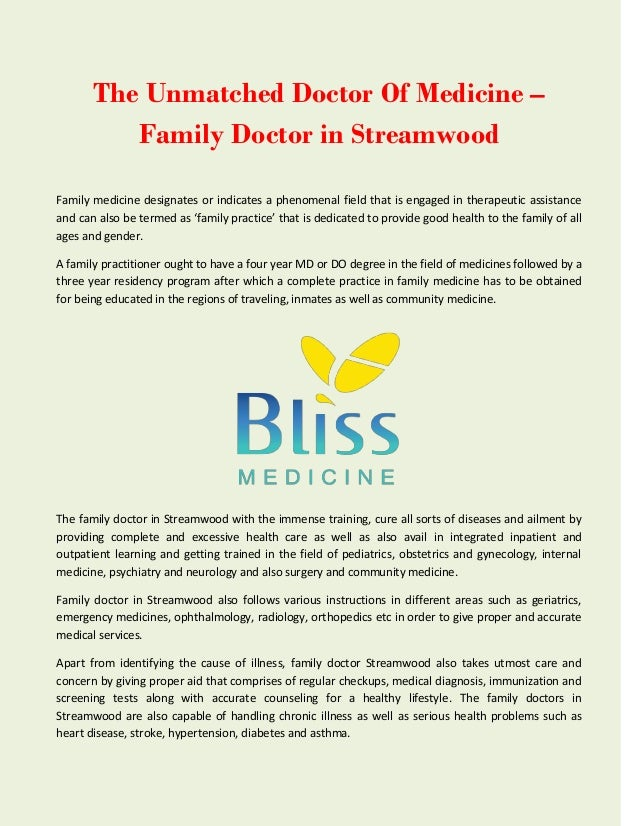 The Unmatched Doctor Of Medicine – Family Doctor in Streamwood