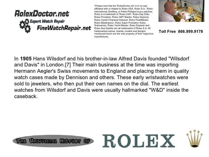 Toll Free  866.999.9178 *Please note that the 'RolexDoctor.net' is in no way affiliated with or related to Rolex USA, Role...