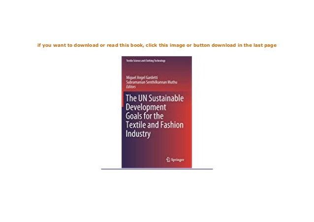 P D F Epub The Un Sustainable Development Goals For Textile And