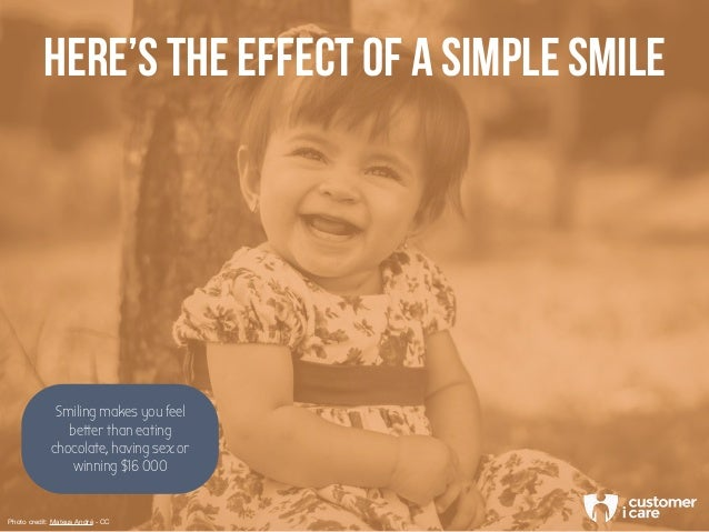 HERE'S THE EFFECT OF A SIMPLE SMILE Smiling makes you feel better than eating chocolate, having sex or winning $16 000 Pho...