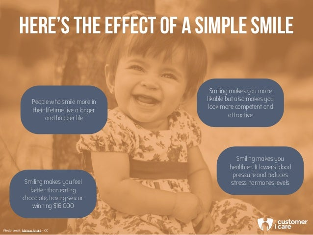 HERE'S THE EFFECT OF A SIMPLE SMILE Smiling makes you feel better than eating chocolate, having sex or winning $16 000 Peo...