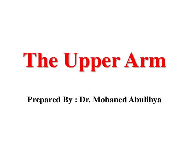 The Upper Arm Prepared By : Dr. Mohaned Abulihya