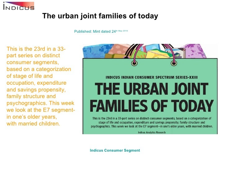 The urban joint families of today Published: Mint dated 24 th  May 2010 This is the 23rd in a 33-part series on distinct c...