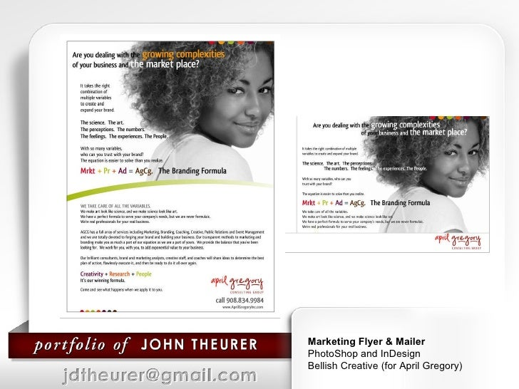 Marketing Flyer & Mailer  PhotoShop and InDesign Bellish Creative (for April Gregory)