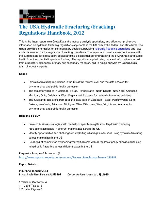 The USA Hydraulic Fracturing (Fracking)Regulations Handbook, 2012This is the latest report from GlobalData, the industry a...