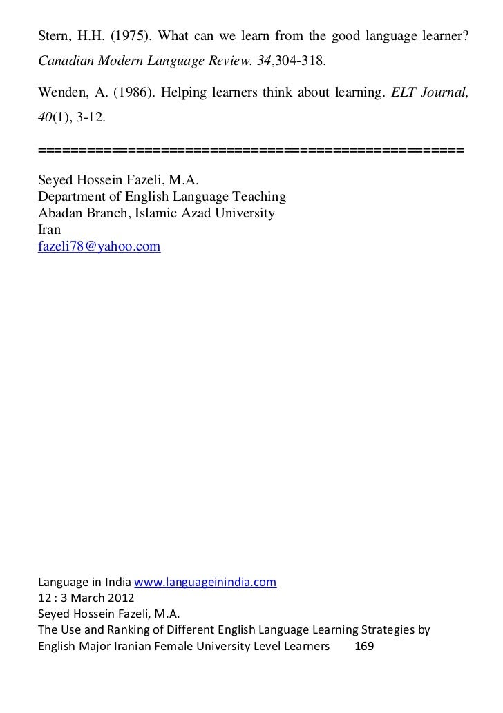 Two Activities for Raising Consciousness of Language Learners' Strategies