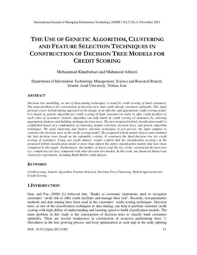 International Journal of Managing Information Technology (IJMIT) Vol.5, No.4, November 2013  THE USE OF GENETIC ALGORITHM,...