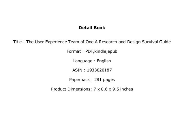 the user experience team of one free pdf