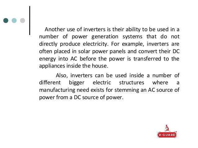 The Uses Of A Stabilizer And An Inverter