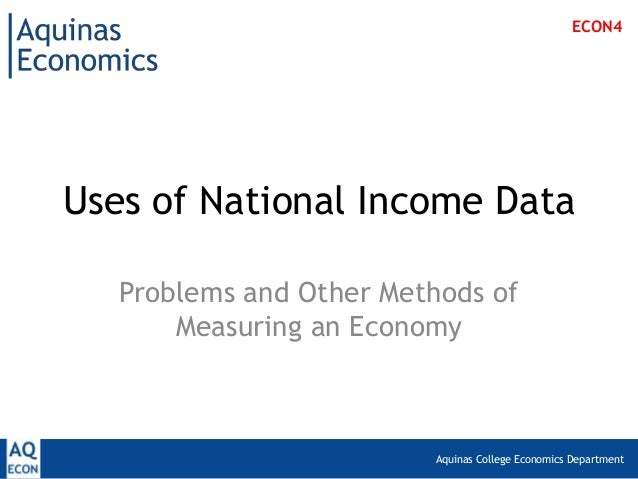 Aquinas College Economics DepartmentUses of National Income DataProblems and Other Methods ofMeasuring an EconomyECON4