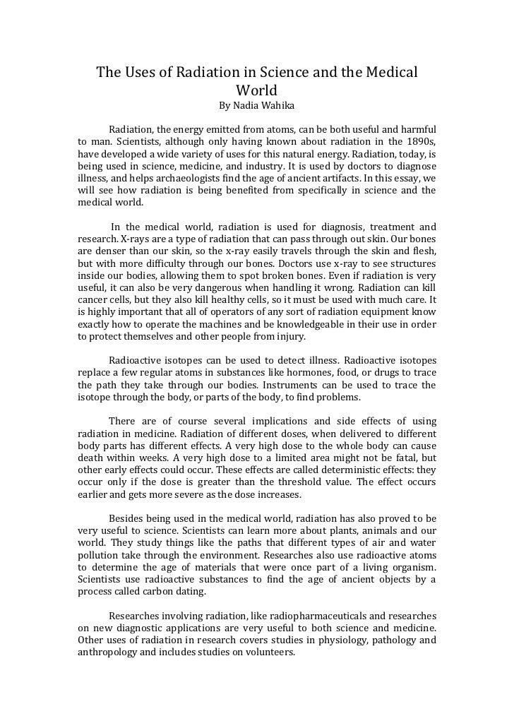 Essay on radiation