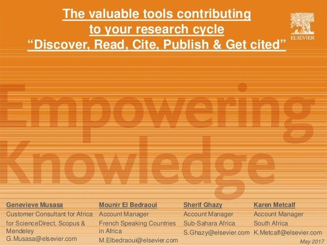"The valuable tools contributing to your research cycle ""Discover, Read, Cite, Publish & Get cited"" Genevieve Musasa Custom..."