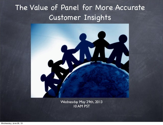 The Value of Panel for More AccurateCustomer InsightsWednesday May 29th, 201310 AM PSTWednesday, June 26, 13