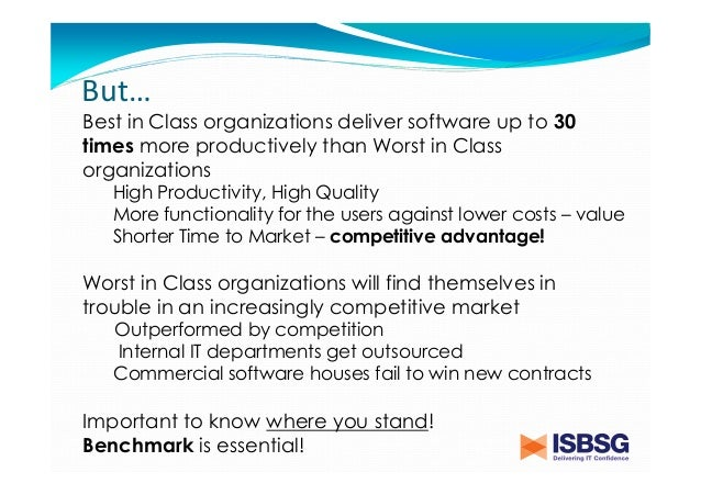 The value of benchmarking software projects