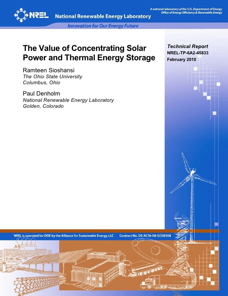The Value of Concentrating Solar       Technical Report                                        NREL-TP-6A2-45833 Power and...