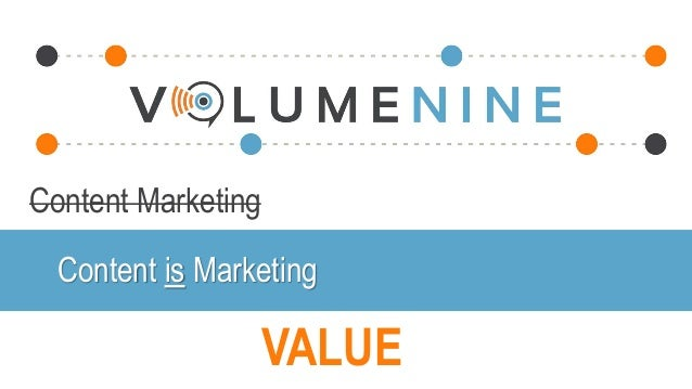 Content Marketing VALUE Content is Marketing