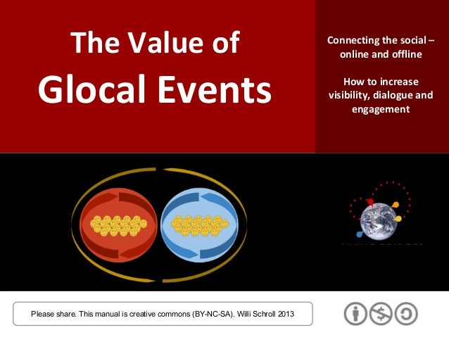 The Value of Glocal Events Please share. This manual is creative commons (BY-NC-SA). Willi Schroll 2013 Connecting the soc...