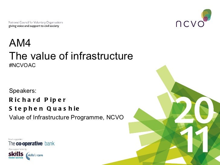 Speakers: Richard Piper Stephen Quashie Value of Infrastructure Programme, NCVO  AM4 The value of infrastructure   #NCVOAC