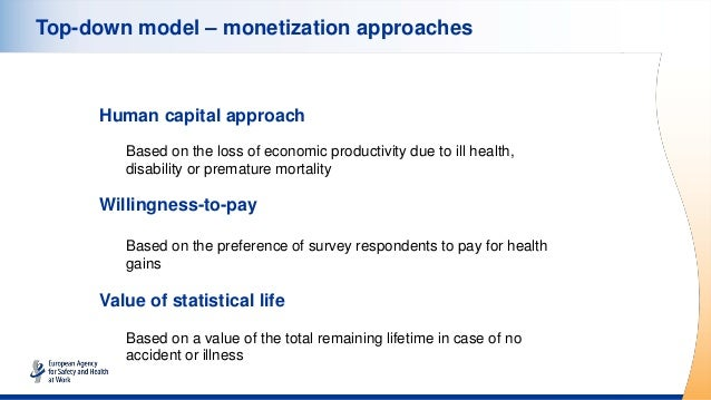 Top-down model – monetization approaches Human capital approach Based on the loss of economic productivity due to ill heal...