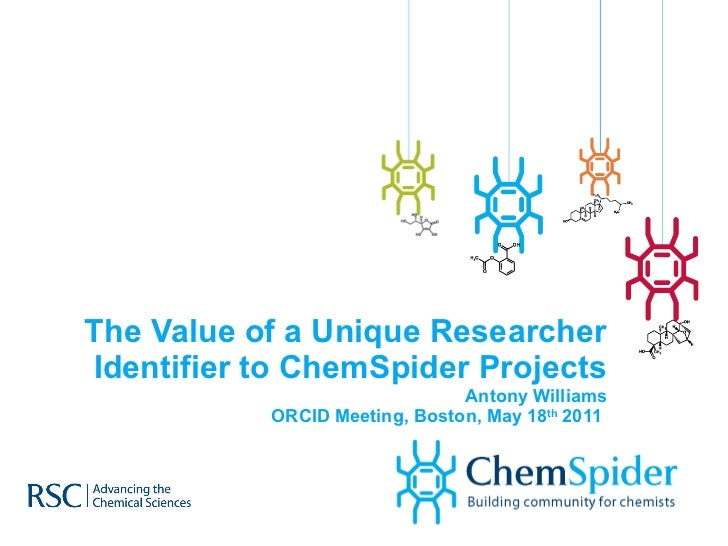 The Value of a Unique Researcher Identifier to ChemSpider Projects Antony Williams ORCID Meeting, Boston, May 18 th  2011