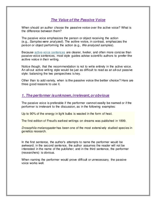 The value of the passive voice (1)