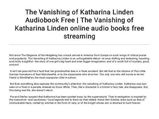 The Vanishing of Katharina Linden Audiobook Free   The