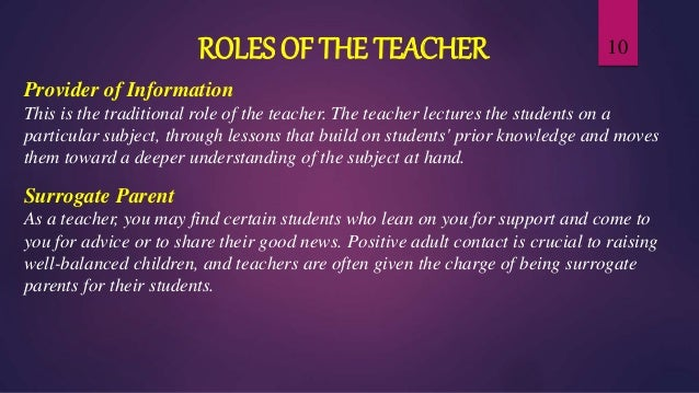 the role of the teacher In many small group teaching situations, the role of the teacher is that of facilitator of learning: leading discussions, asking open-ended questions.