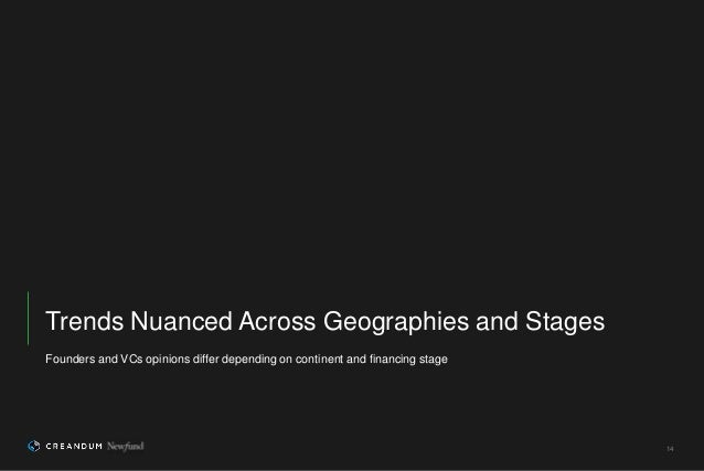 14 Founders and VCs opinions differ depending on continent and financing stage Trends Nuanced Across Geographies and Stages