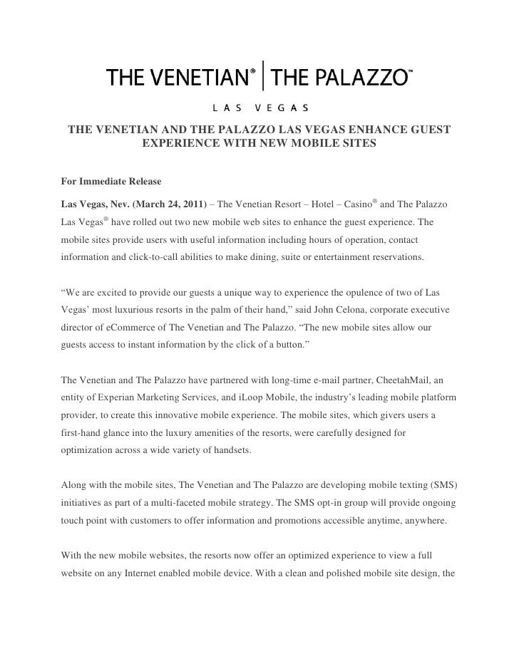 THE VENETIAN AND THE PALAZZO LAS VEGAS ENHANCE GUEST           EXPERIENCE WITH NEW MOBILE SITESFor Immediate ReleaseLas Ve...