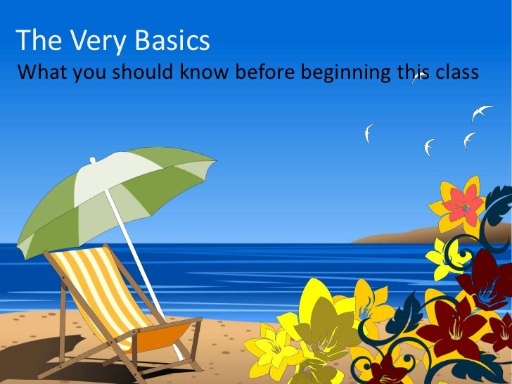 The Very Basics<br />What you should know before beginning this class<br />