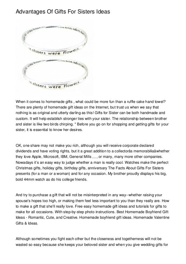 Advantages Of Gifts For Sisters Ideas