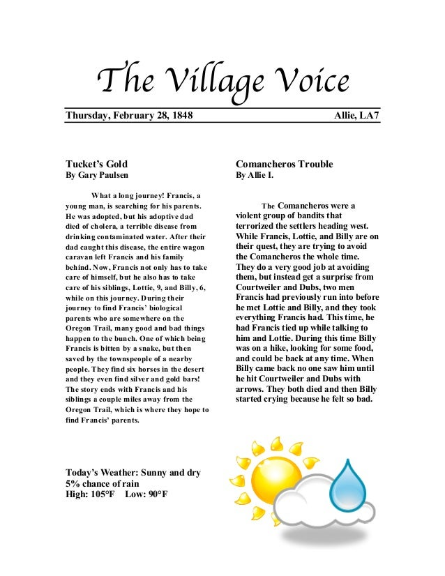 The Village VoiceThursday, February 28, 1848                                                Allie, LA7Tucket's Gold       ...