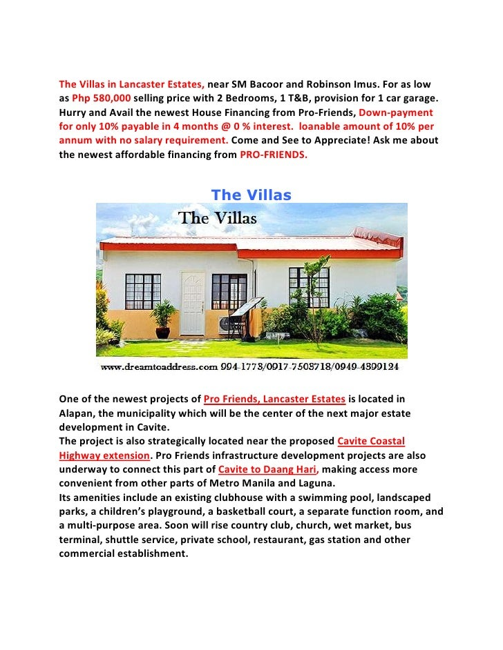 The Villas in Lancaster Estates, near SM Bacoor and Robinson Imus. For as low as Php 580,000 selling price with 2 Bedrooms...