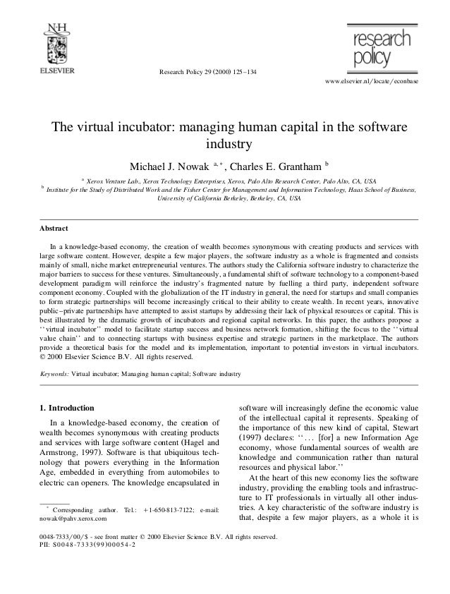 Ž .Research Policy 29 2000 125–134www.elsevier.nlrlocatereconbaseThe virtual incubator: managing human capital in the soft...