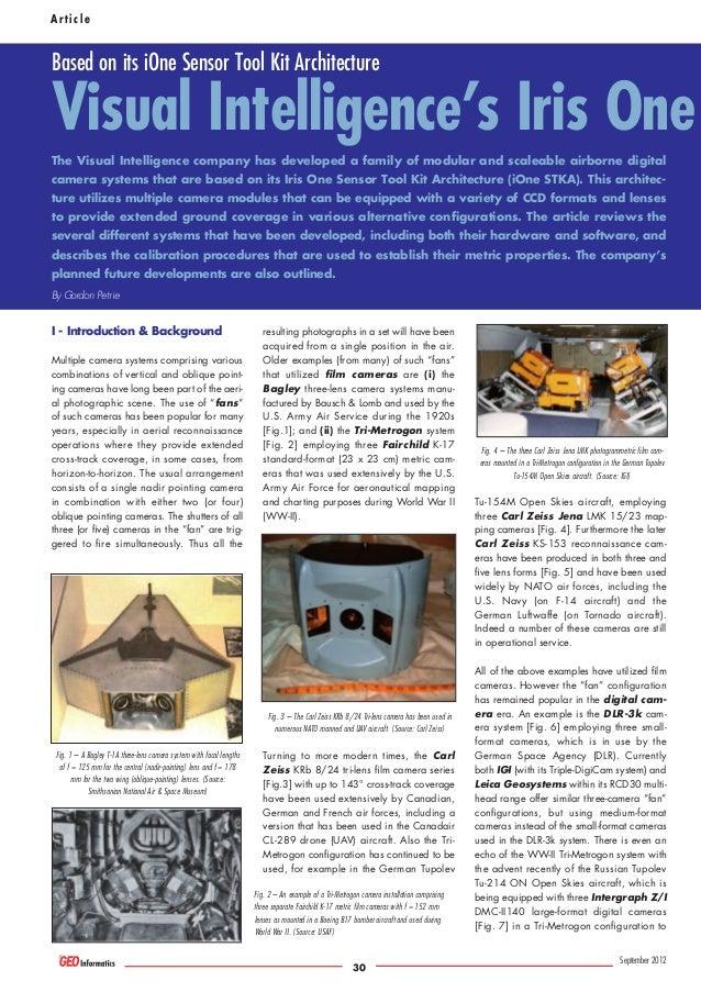 Article  Based on its iOne Sensor Tool Kit Architecture  Visual Intelligence's Iris One The Visual Intelligence company ha...