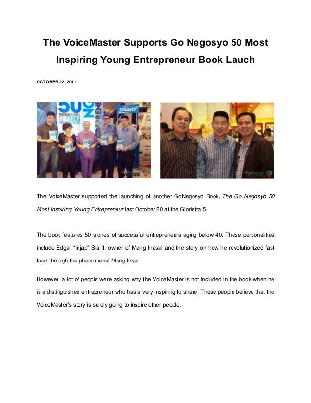 The VoiceMaster Supports Go Negosyo 50 Most        Inspiring Young Entrepreneur Book LauchOCTOBER 22, 2011The VoiceMaster ...