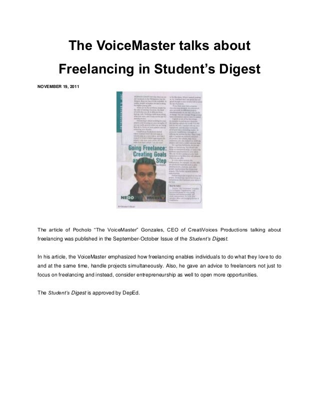 """The VoiceMaster talks about        Freelancing in Student's DigestNOVEMBER 19, 2011The article of Pocholo """"The VoiceMaster..."""