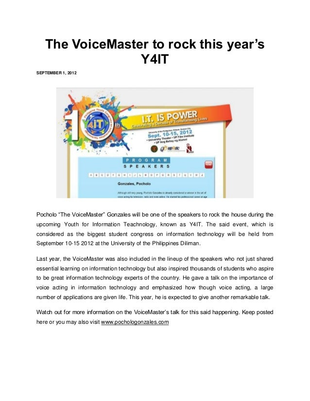 """The VoiceMaster to rock this year's                 Y4ITSEPTEMBER 1, 2012Pocholo """"The VoiceMaster"""" Gonzales will be one of..."""
