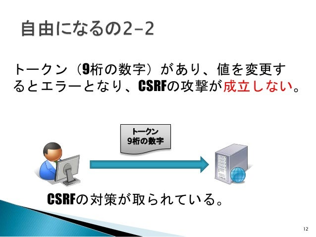 12 トークン(9桁の数字)があり、値を変更す るとエラーとなり、CSRFの攻撃が成立しない。 トークン 9桁の数字 CSRFの対策が取られている。