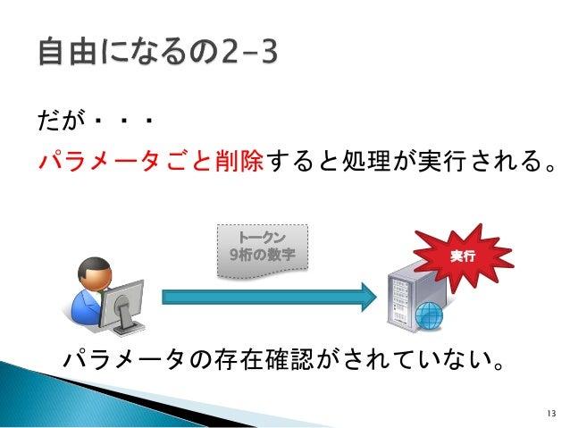 13 だが・・・ パラメータごと削除すると処理が実行される。 トークン 9桁の数字 パラメータの存在確認がされていない。 実行