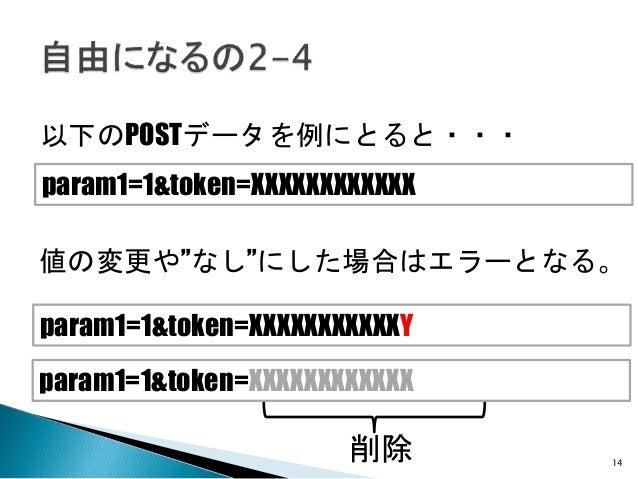 """14 以下のPOSTデータを例にとると・・・ param1=1&token=XXXXXXXXXXXX param1=1&token=XXXXXXXXXXXX param1=1&token=XXXXXXXXXXXY 値の変更や""""なし""""にした場合は..."""