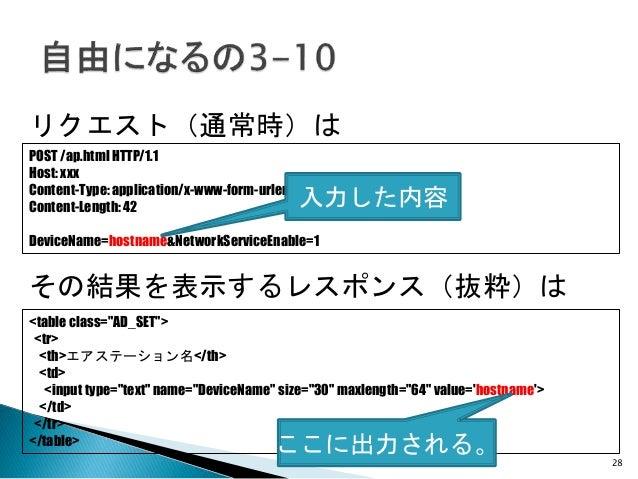 28 リクエスト(通常時)は POST /ap.html HTTP/1.1 Host: xxx Content-Type: application/x-www-form-urlencoded Content-Length: 42 DeviceN...