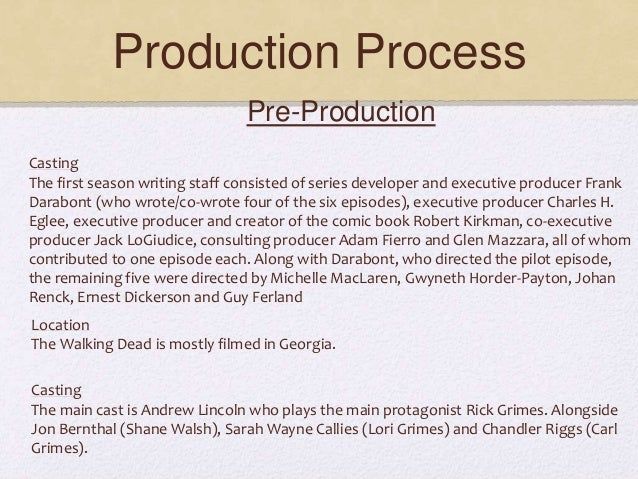 Production Process Pre-Production Casting The first season writing staff consisted of series developer and executive produ...