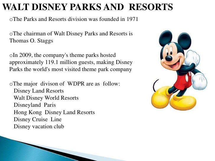 a business analysis of the disney companys theme parks and resorts Walt disney  company parks & resorts theme parks and resorts presentation: financial analysis behind the magic at walt disney world resort.