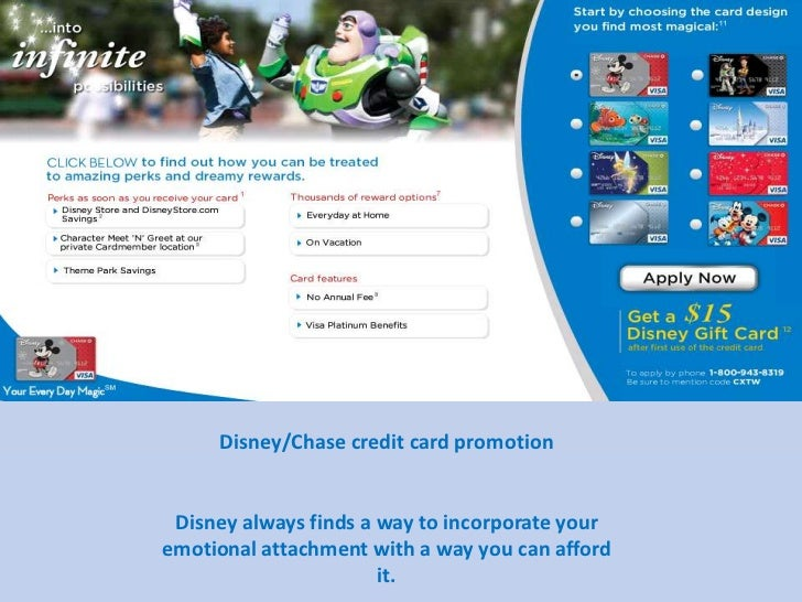 Disney/Chase credit card promotion<br />Disney always finds a way to incorporate your emotional attachment witha way you c...