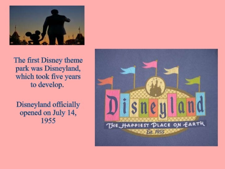 The first Disney theme park was Disneyland, which took five years to develop. <br />Disneyland officially opened on July ...