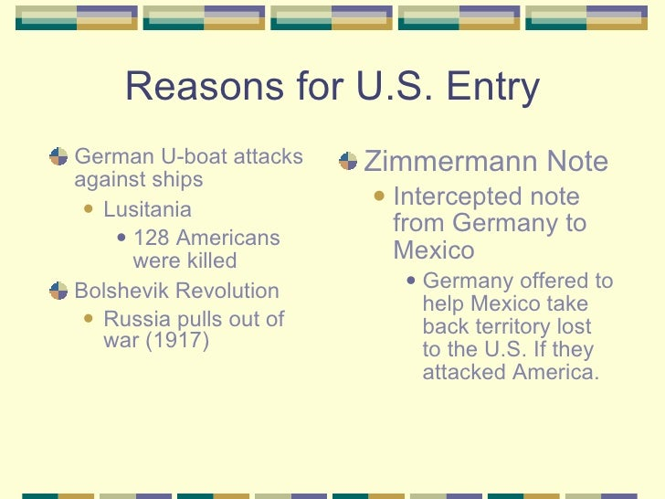 what were the reasons us entered ww1